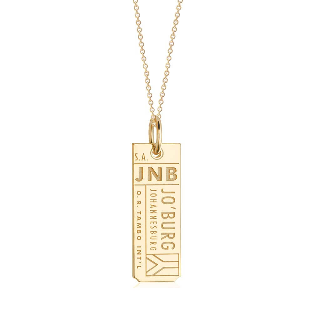 Gold Travel Charm, JNB Johannesburg Luggage Tag - JET SET CANDY