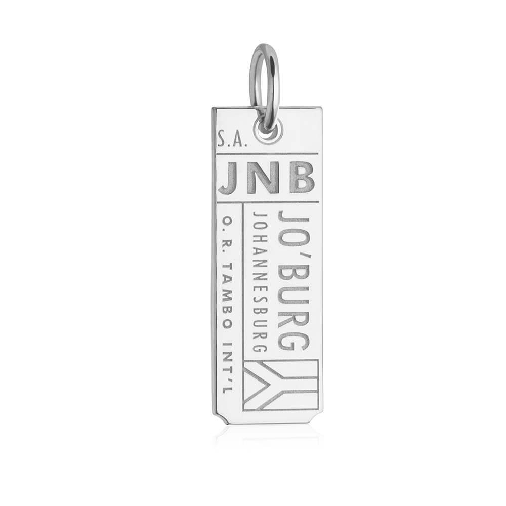 Silver Travel Charm, JNB Johannesburg Luggage Tag - JET SET CANDY