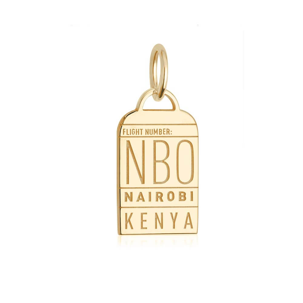 Gold Africa Charm, NBO Nairobi Luggage Tag (SHIPS JUNE) - JET SET CANDY
