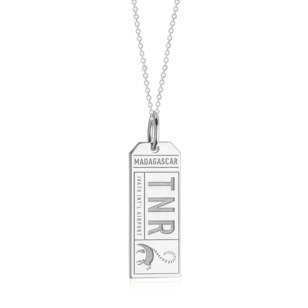 Silver Travel Charm, TNR Madagascar Luggage Tag - JET SET CANDY