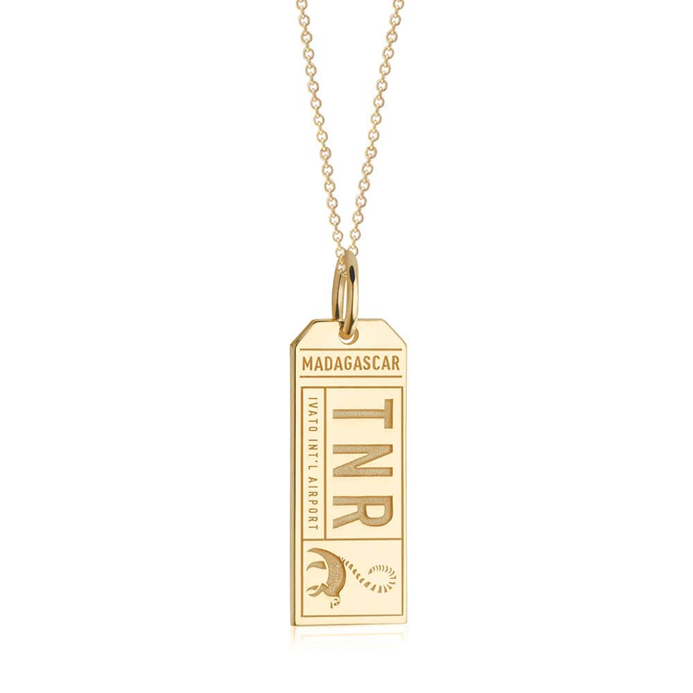 Gold Travel Charm, TNR Madagascar Luggage Tag - JET SET CANDY