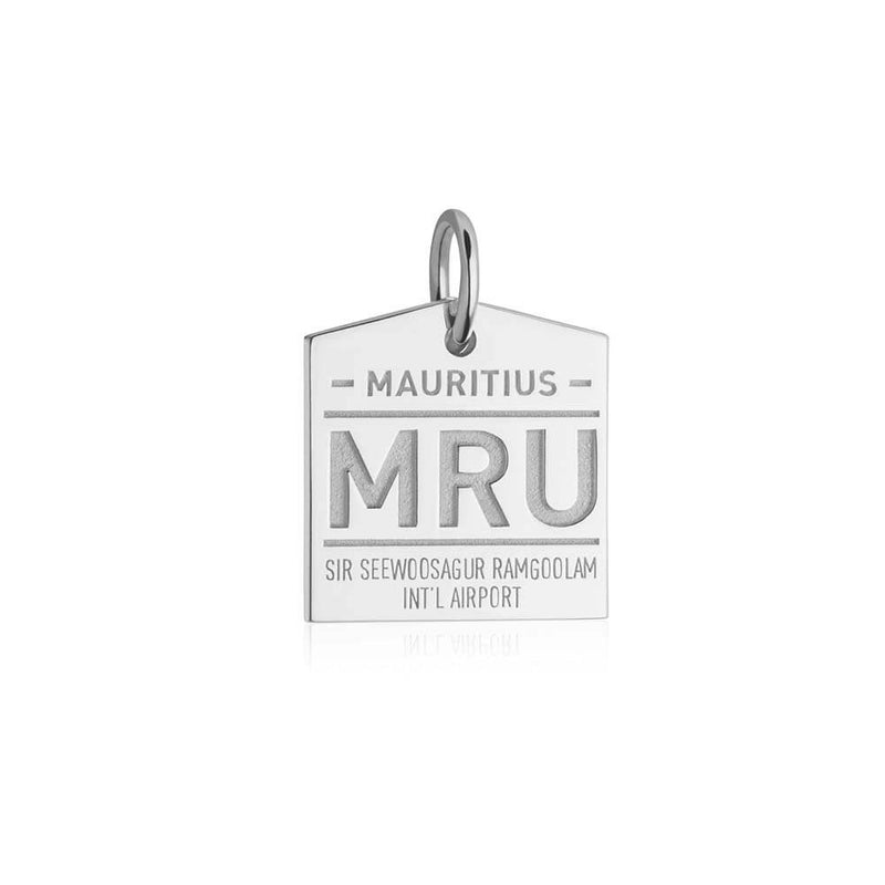 Silver Travel Charm, MRU Mauritius Luggage Tag - JET SET CANDY