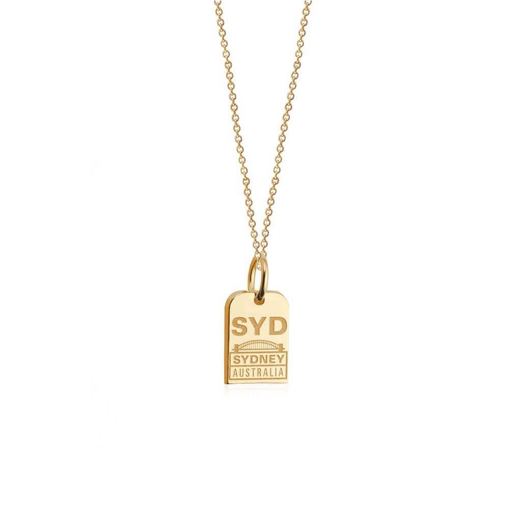 Mini Solid Gold Sydney Charm, SYD Luggage Tag - JET SET CANDY