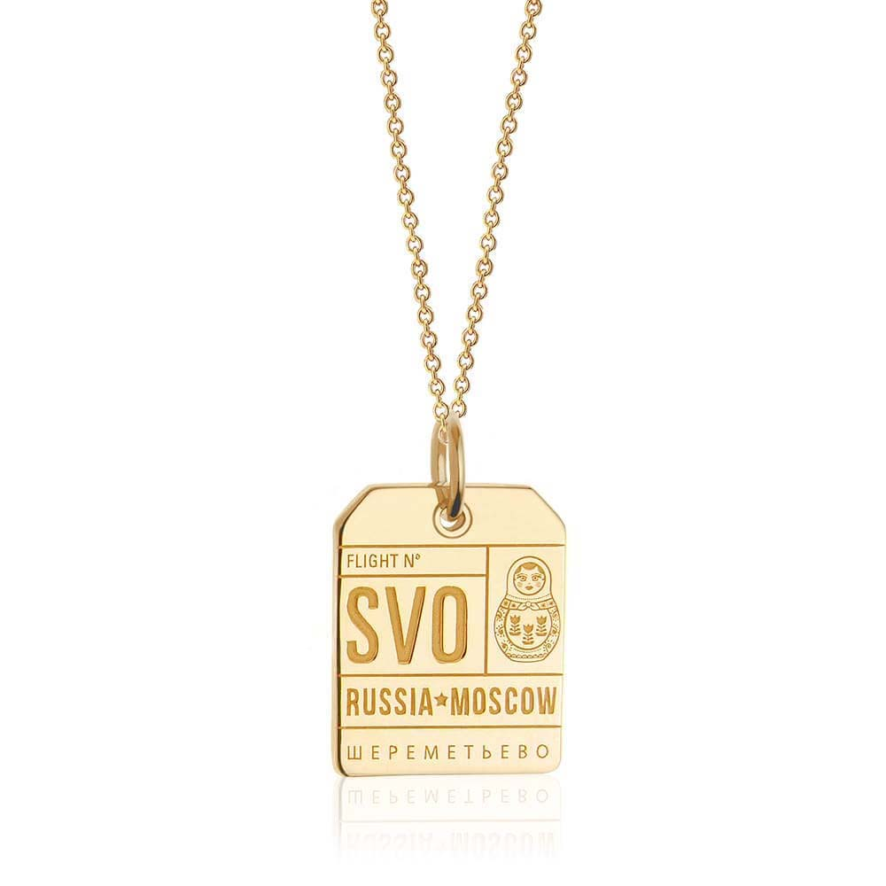PRE ORDER: Solid Gold SVO Moscow Luggage Tag Charm (Allow 8 weeks)