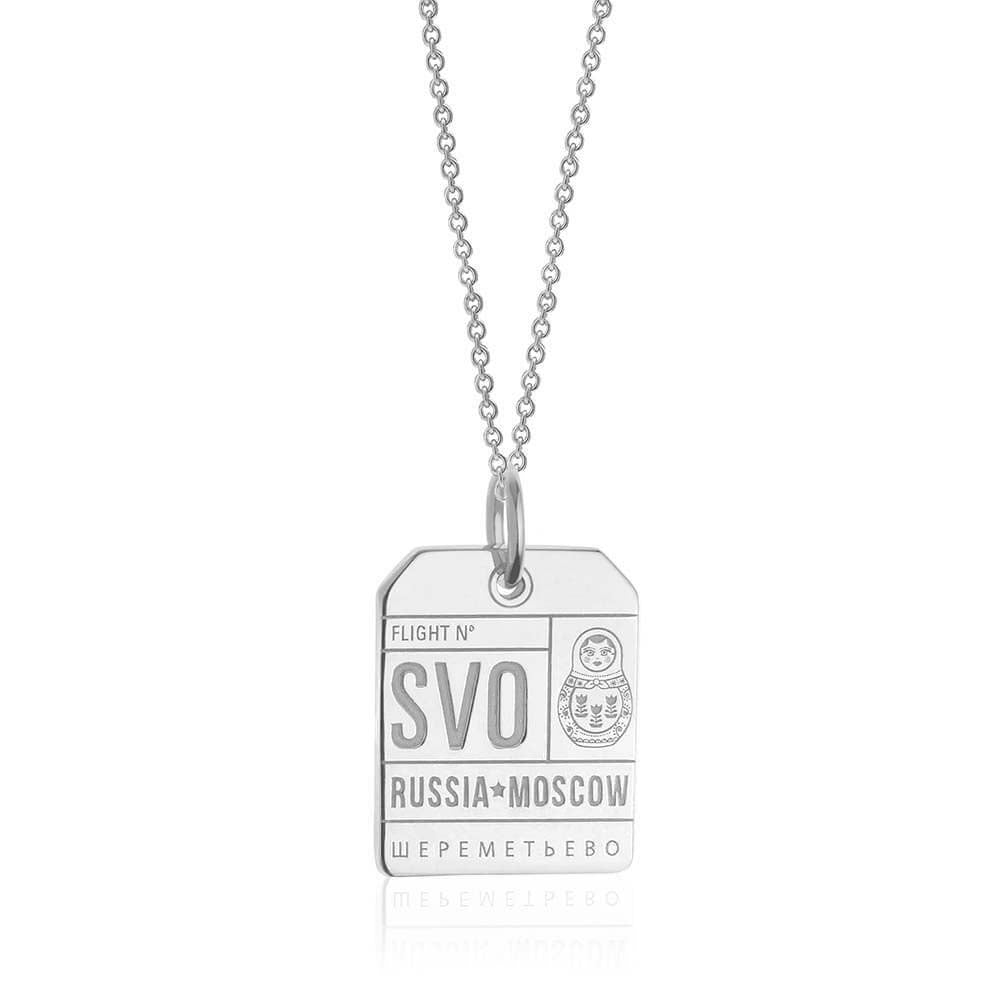 Silver Russia Charm, SVO Moscow Luggage Tag - JET SET CANDY