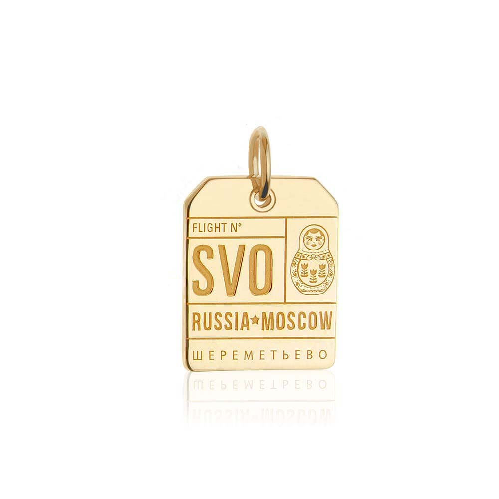 Gold Vermeil Russia Charm, SVO Moscow Luggage Tag - JET SET CANDY
