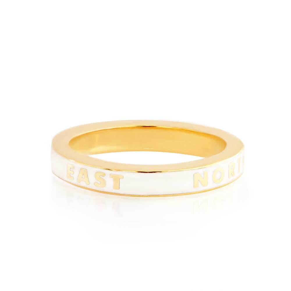 White Enamel Gold Travel Ring, North South East West - JET SET CANDY