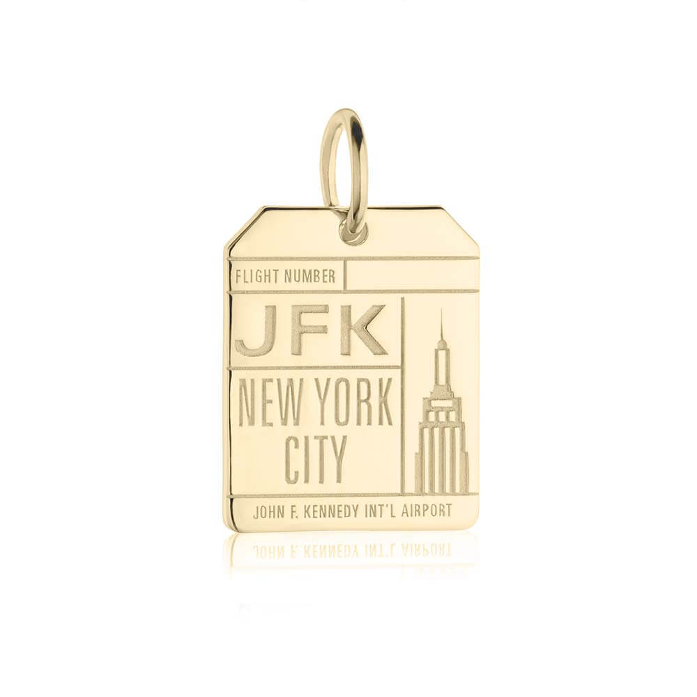 Gold New York Charm, JFK Luggage Tag - JET SET CANDY