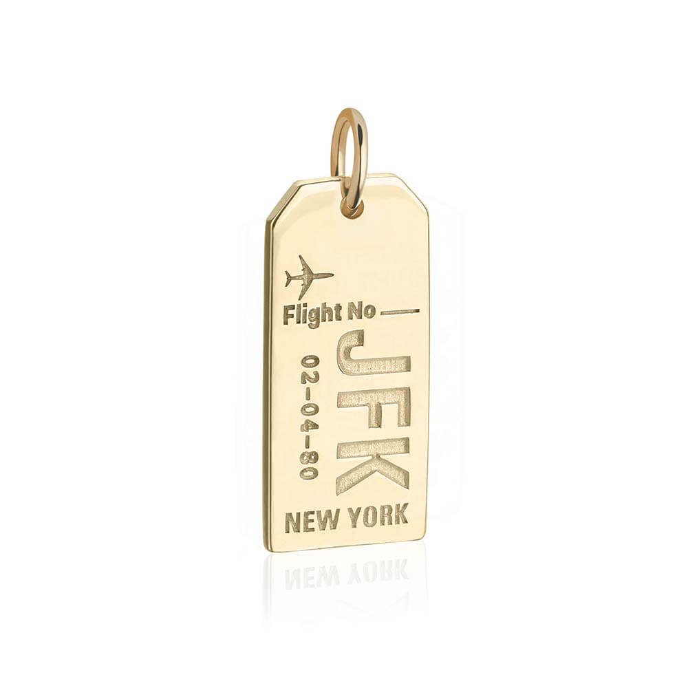 Gold New York JFK Charm, Luggage Tag - JET SET CANDY
