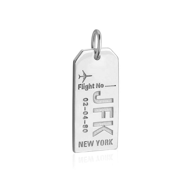 Silver New York Charm, JFK Luggage Tag - JET SET CANDY