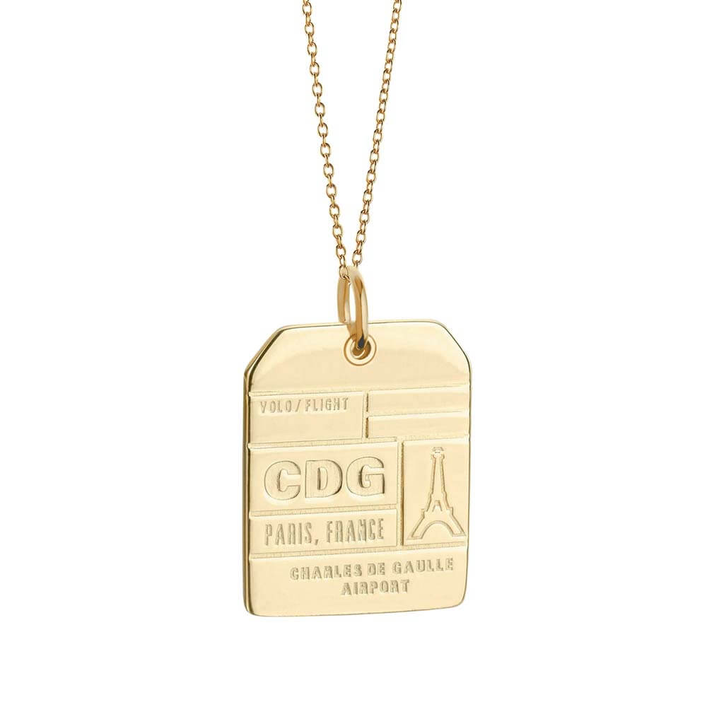 Gold Vermeil France Charm, CDG Paris Luggage Tag - JET SET CANDY