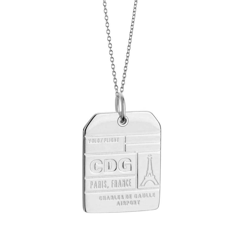 Silver France Charm, CDG Paris Luggage Tag - JET SET CANDY