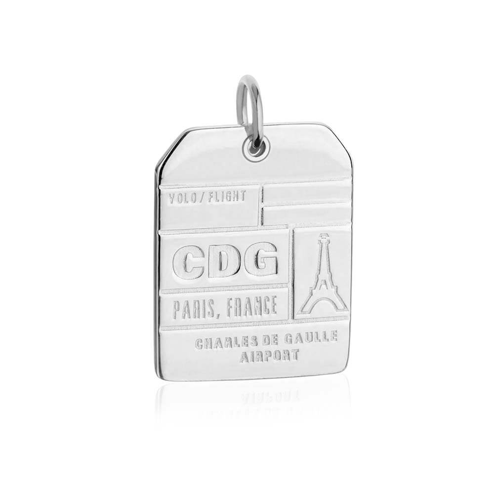 Silver France Charm, CDG Paris Luggage Tag (SHIPS JUNE) - JET SET CANDY