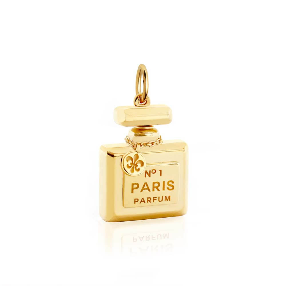 Perfume Bottle Charm In Gold - JET SET CANDY