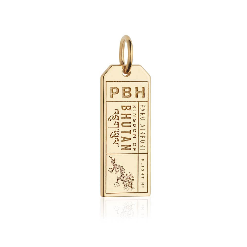 Gold Bhutan Charm, PBH Luggage Tag - JET SET CANDY