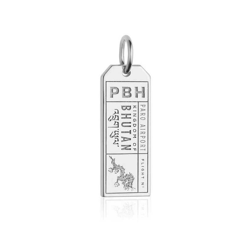 Silver Bhutan Charm, PBH Luggage Tag - JET SET CANDY
