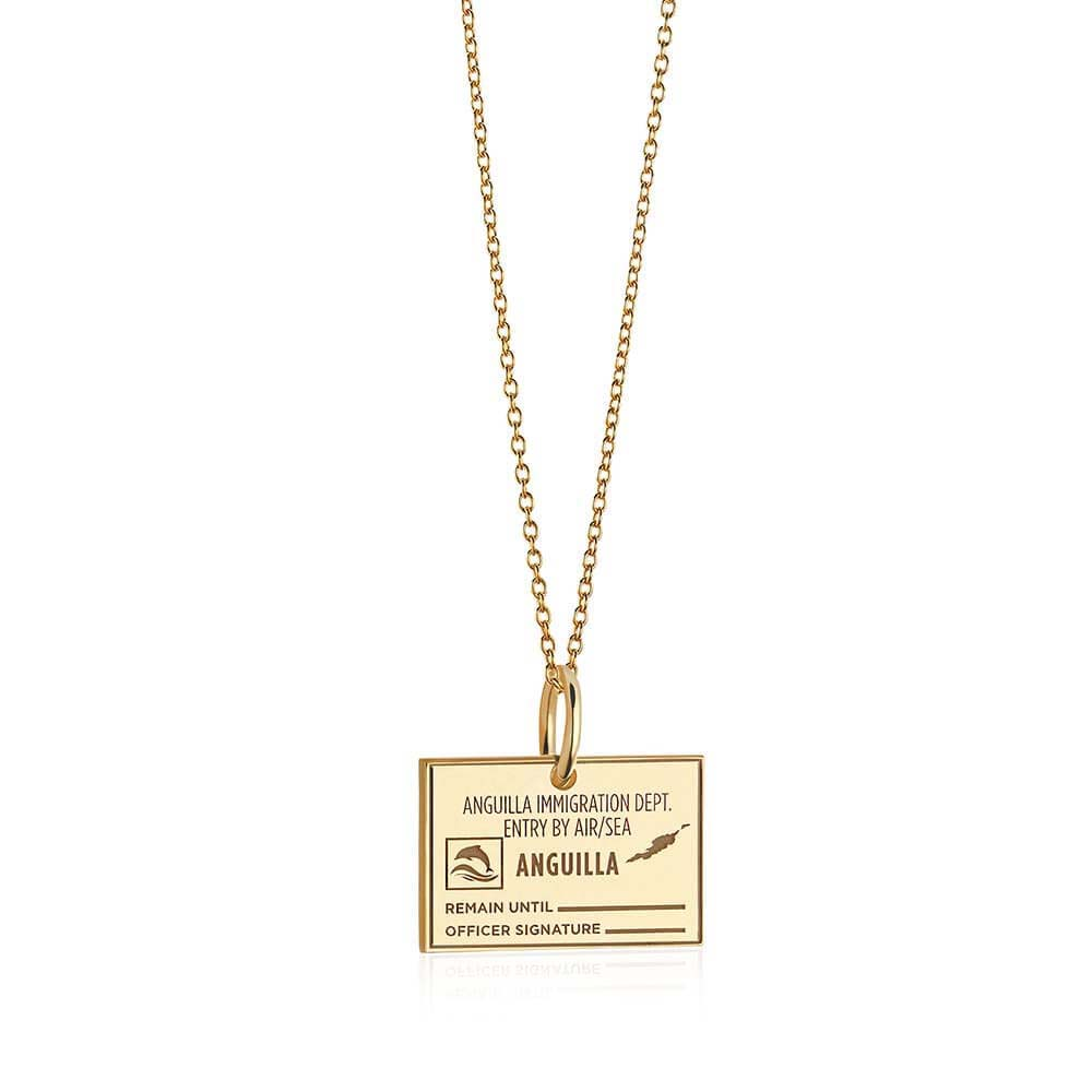 Solid Gold Anguilla Passport Stamp Charm - JET SET CANDY