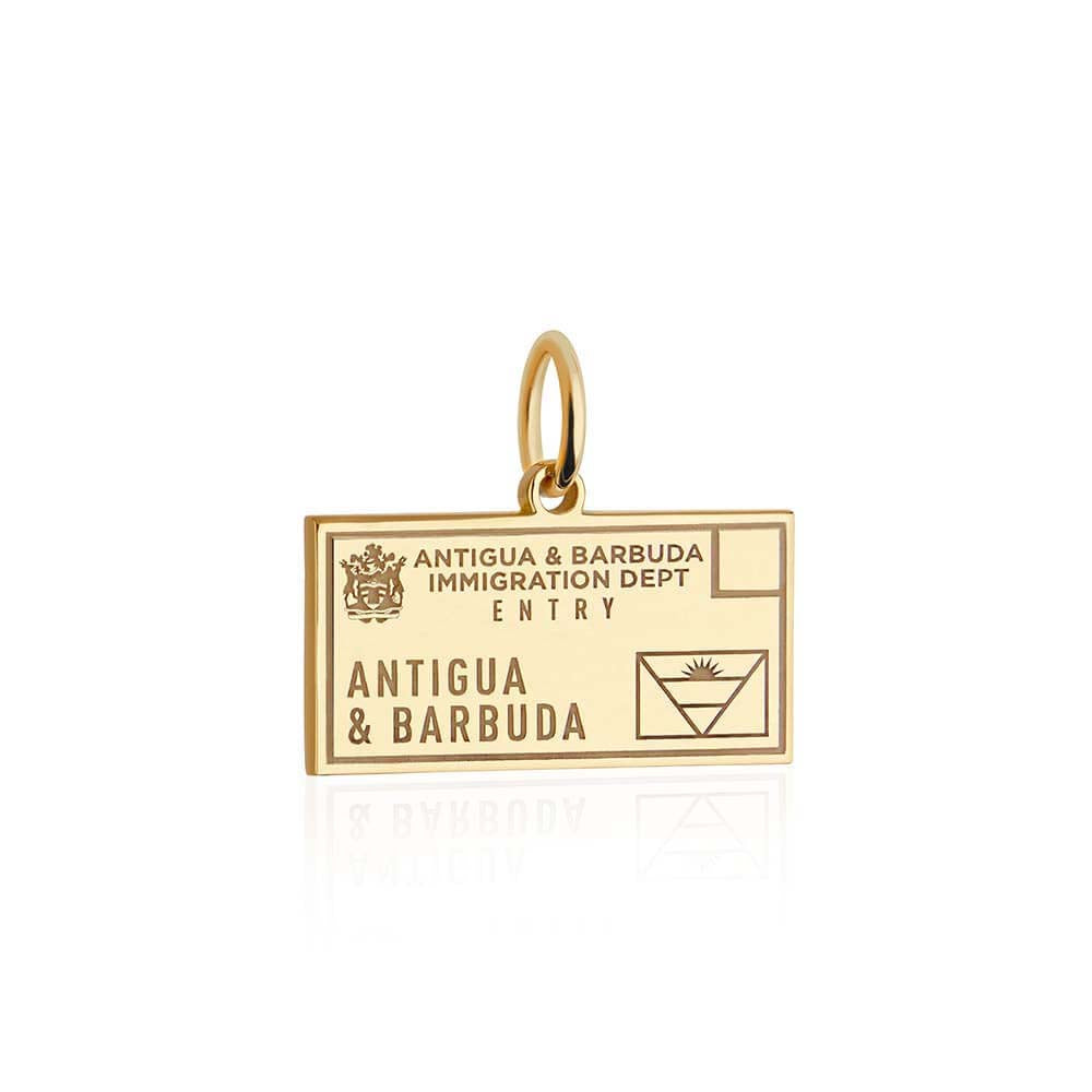 Solid Gold Antigua and Barbuda Passport Stamp Charm