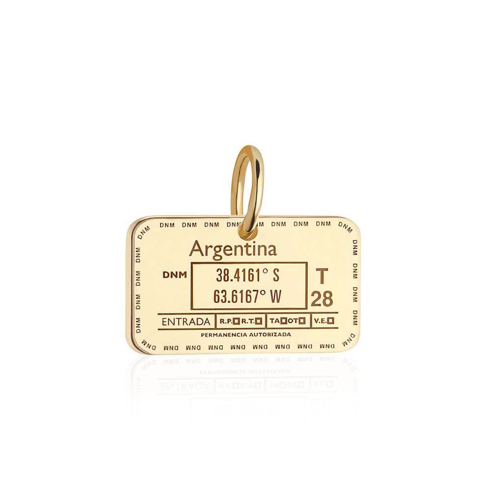 Solid Gold Argentina Passport Stamp Charm