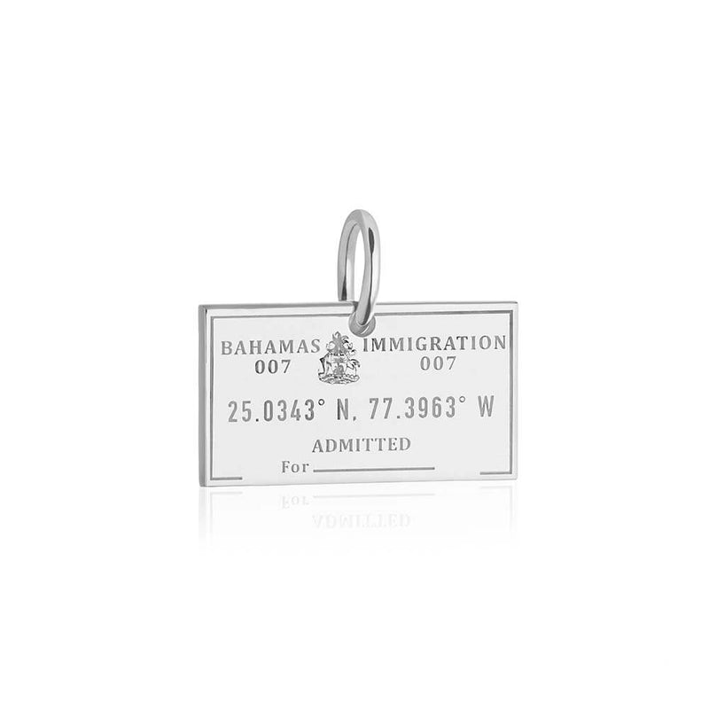 Sterling Silver Travel Charm, Bahamas Passport Stamp