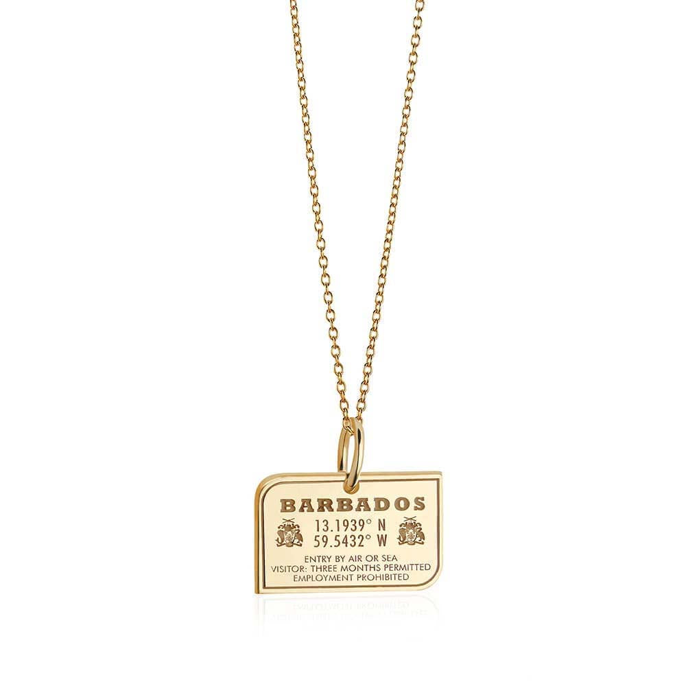 Solid Gold Barbados Passport Stamp Charm - JET SET CANDY