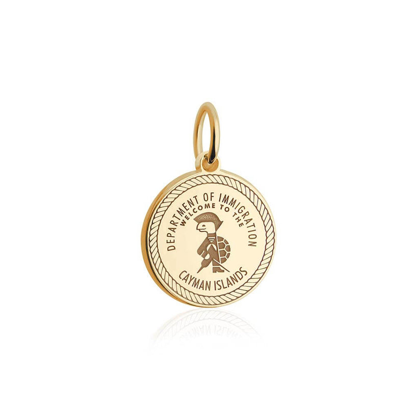 PRE ORDER: Solid Gold Cayman Islands Passport Stamp Charm (Allow 8 weeks)