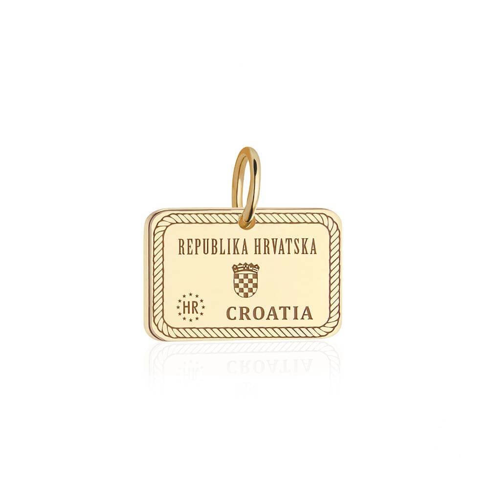 PRE ORDER: Solid Gold Croatia Passport Stamp Charm (Allow 8 weeks)