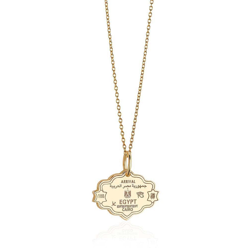 Solid Gold Egypt Passport Stamp Charm - JET SET CANDY