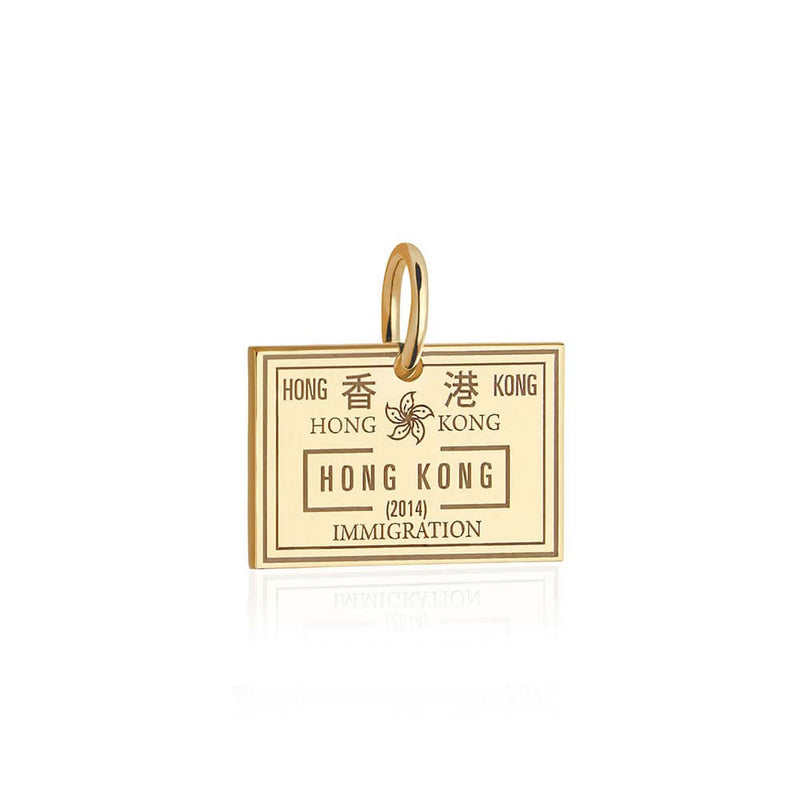 Solid Gold Hong Kong Charm, Passport Stamp - JET SET CANDY