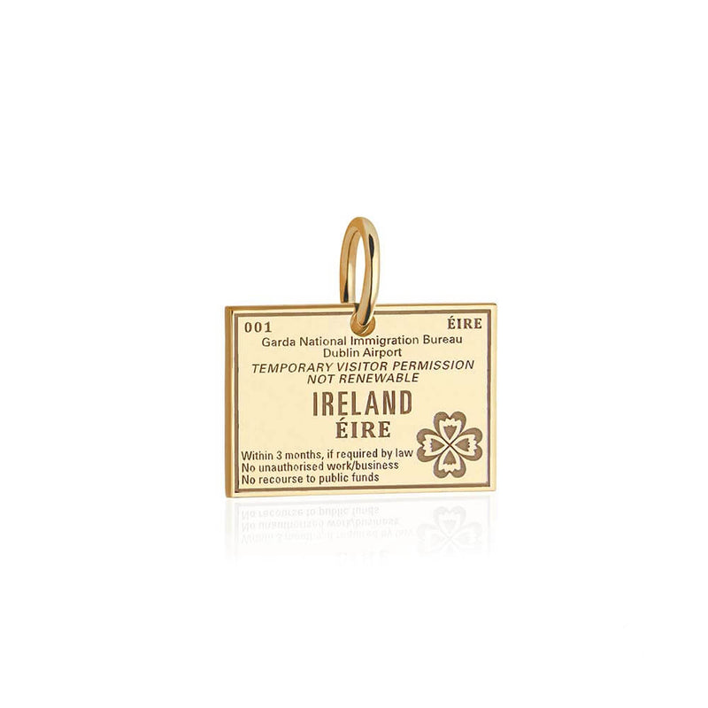 Solid Gold Ireland Charm, Passport Stamp - JET SET CANDY