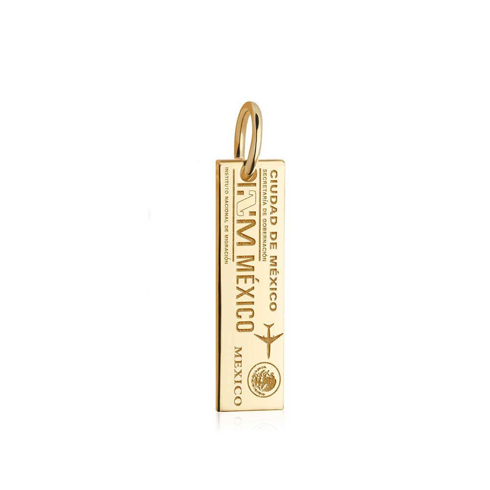 Solid Gold Mexico Charm, Passport Stamp - JET SET CANDY