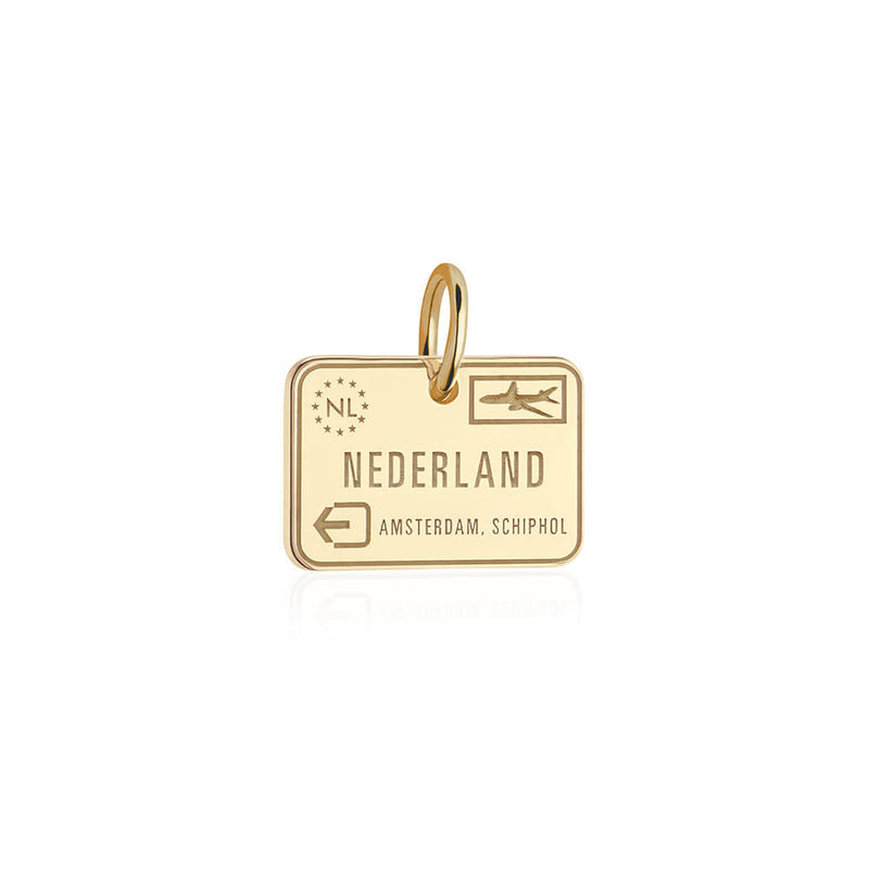 Solid Gold Netherlands Passport Stamp Charm