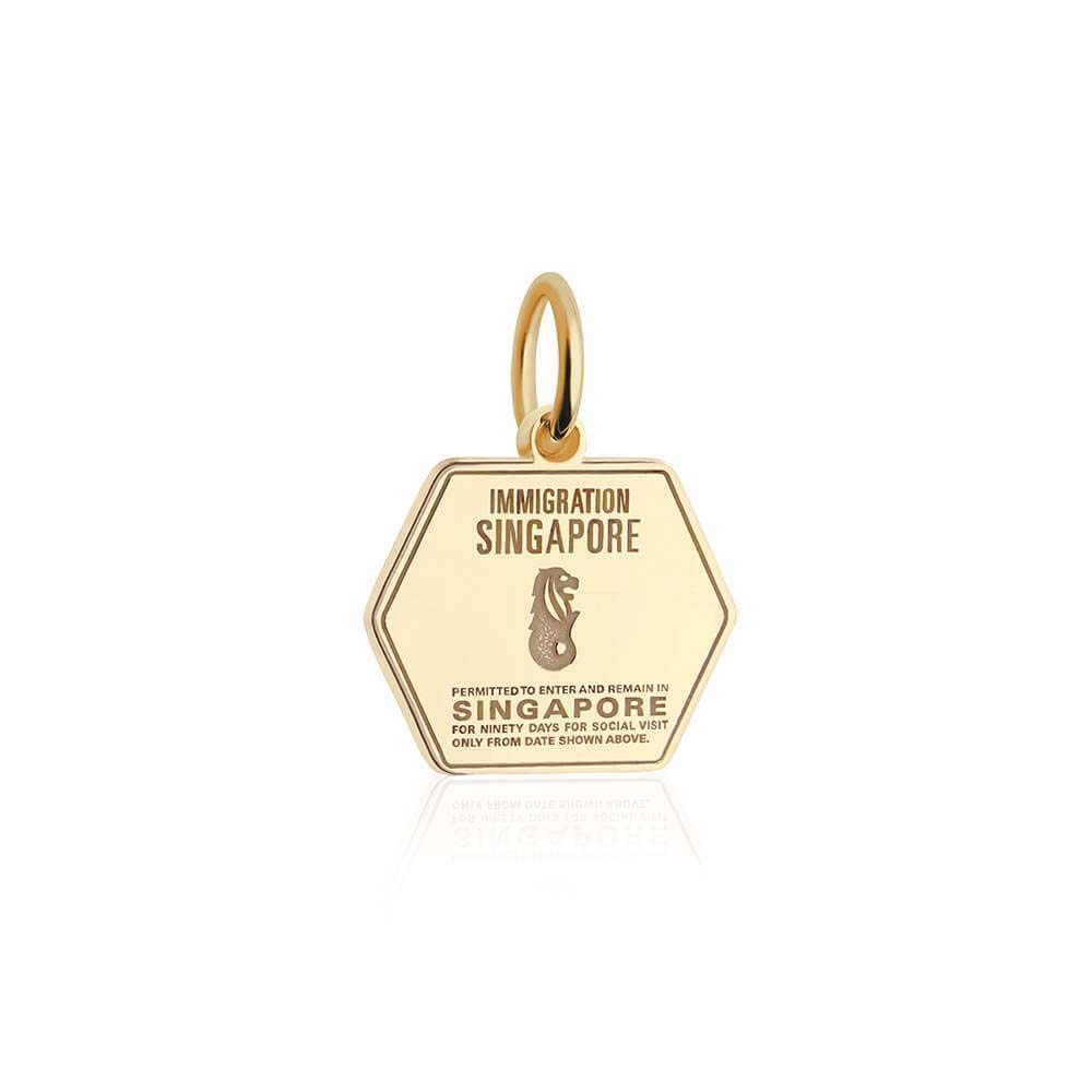Solid Gold Singapore Passport Stamp Charm - JET SET CANDY