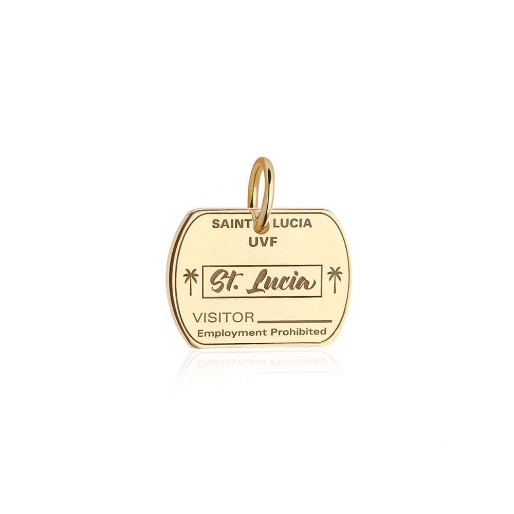Solid Gold Travel Charm, Saint Lucia Passport Stamp - JET SET CANDY