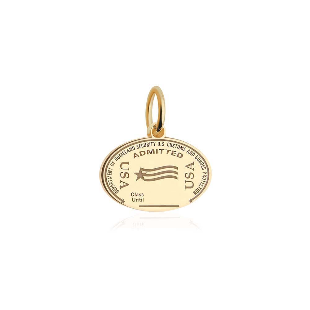 Solid Gold USA United States Passport Stamp Charm - JET SET CANDY