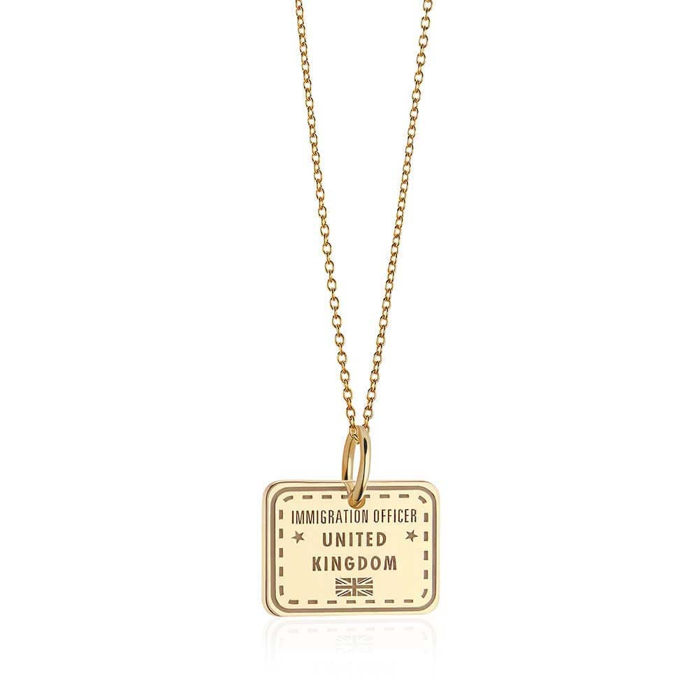 Solid Gold United Kingdom Passport Stamp Charm - JET SET CANDY