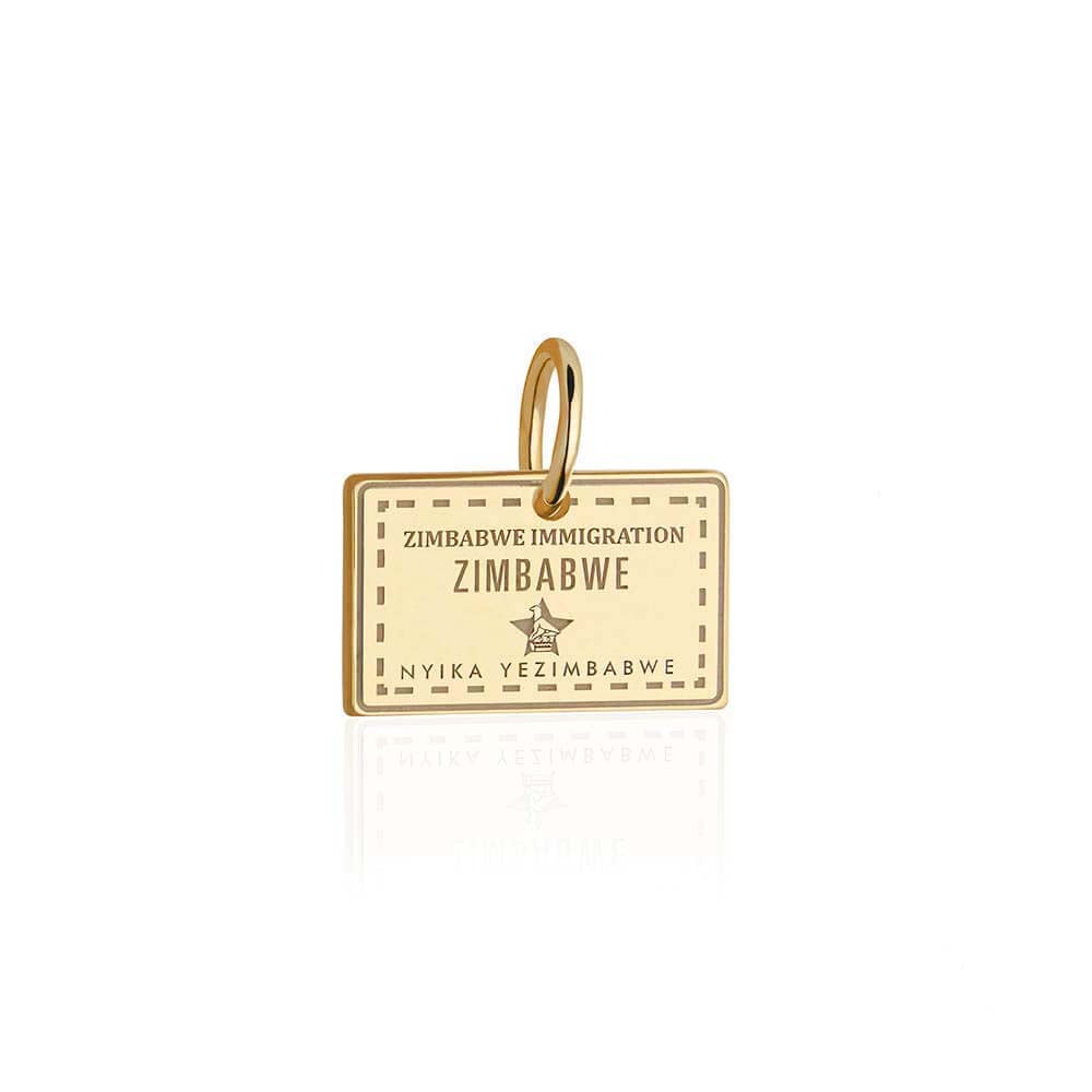 Solid Gold Zimbabwe Passport Stamp Charm - JET SET CANDY