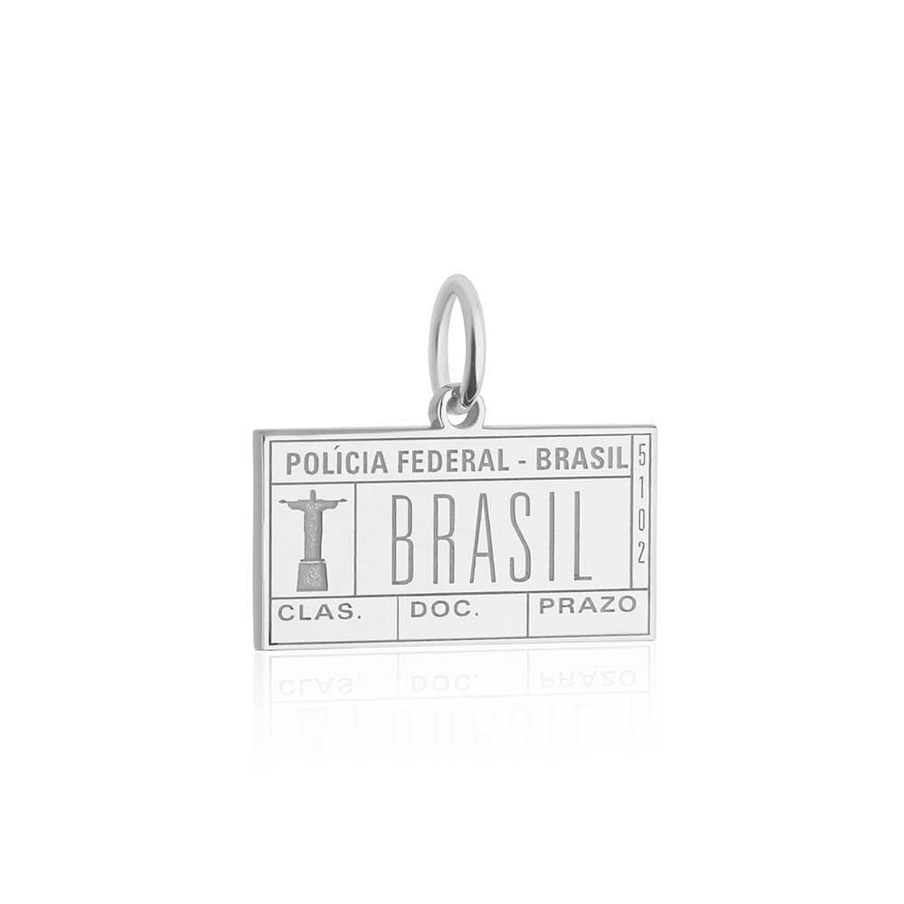 Sterling Silver Brazil Charm, Passport Stamp (SHIPS JUNE) - JET SET CANDY