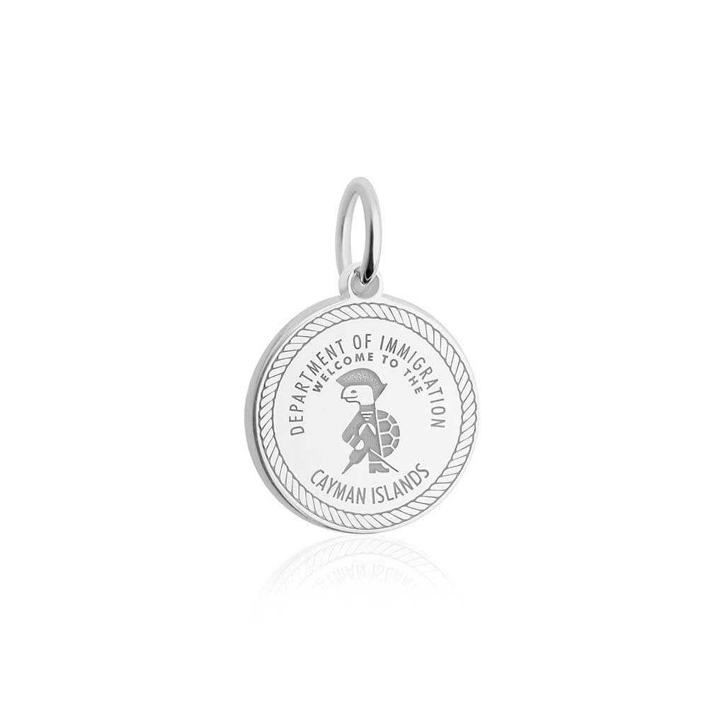 Sterling Silver Travel Charm, Cayman Islands Passport Stamp - JET SET CANDY