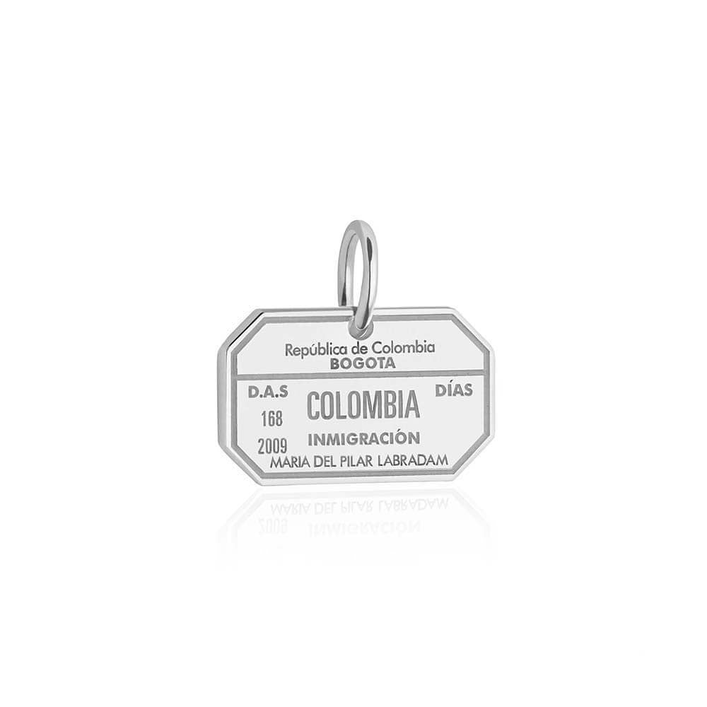 Sterling Silver Travel Charm, Colombia Passport Stamp - JET SET CANDY