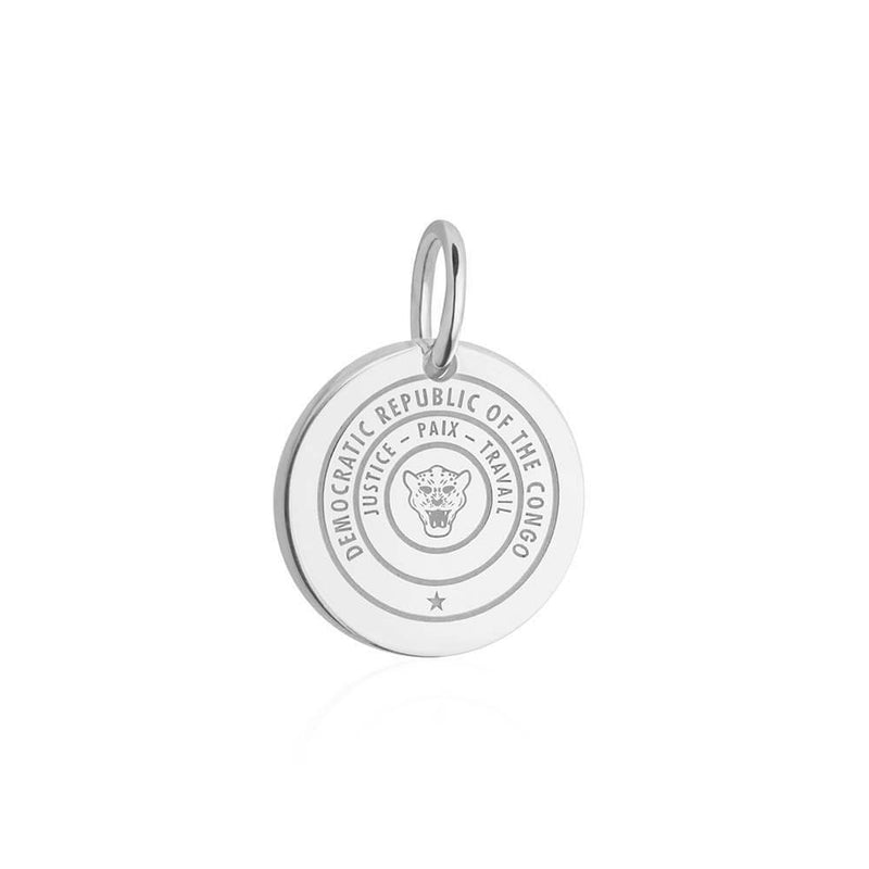 Sterling Silver Travel Charm, Democratic Republic of the Congo Passport Stamp - JET SET CANDY