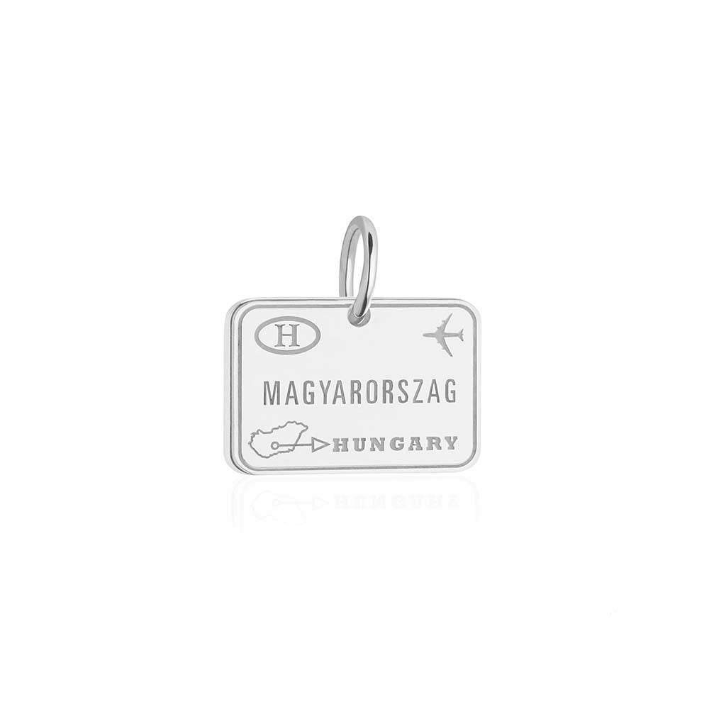 Sterling Silver Travel Charm, Hungary Passport Stamp - JET SET CANDY