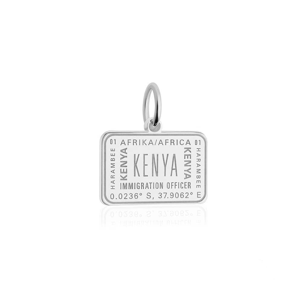 Sterling Silver Travel Charm, Kenya Passport Stamp - JET SET CANDY