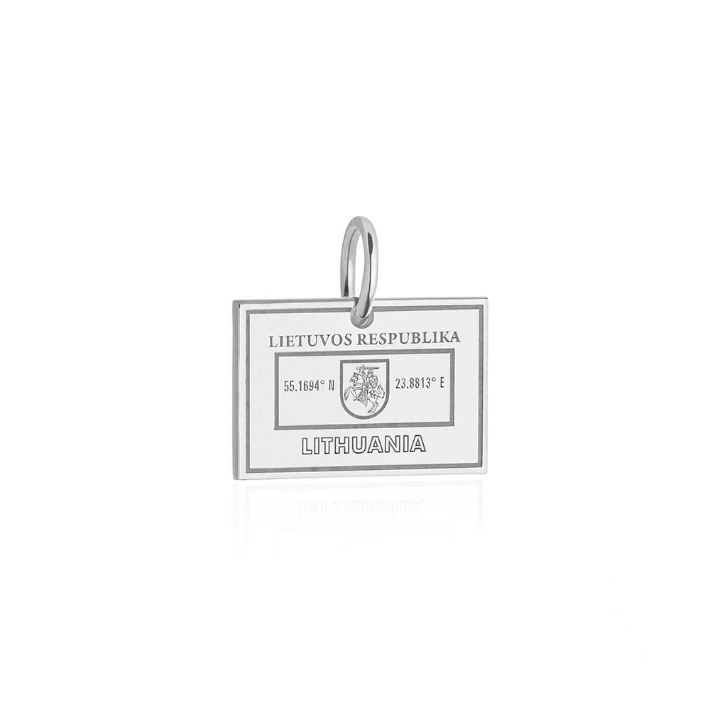 Sterling Silver Charm, Lithuania Passport Stamp (SHIPS JUNE) - JET SET CANDY