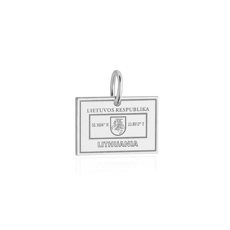 Sterling Silver Charm, Lithuania Passport Stamp - JET SET CANDY