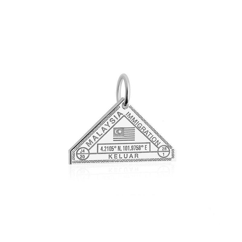 Sterling Silver Travel Charm, Malaysia Passport Stamp - JET SET CANDY