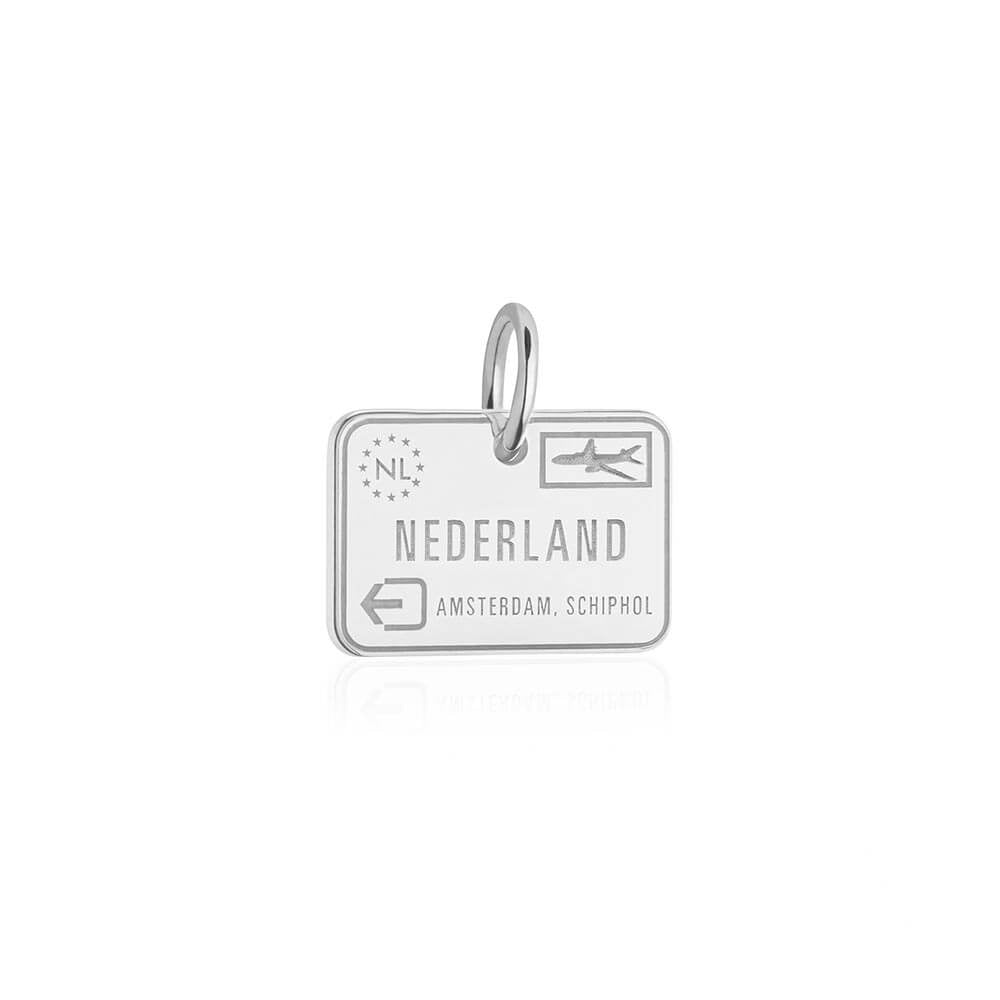 Sterling Silver Charm, Netherlands Passport Stamp (SHIPS JUNE) - JET SET CANDY