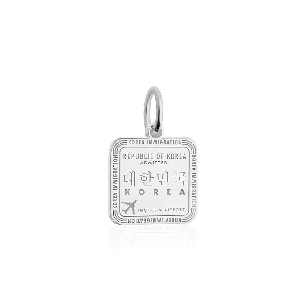Sterling Silver Charm, South Korea Passport Stamp (SHIPS JUNE) - JET SET CANDY