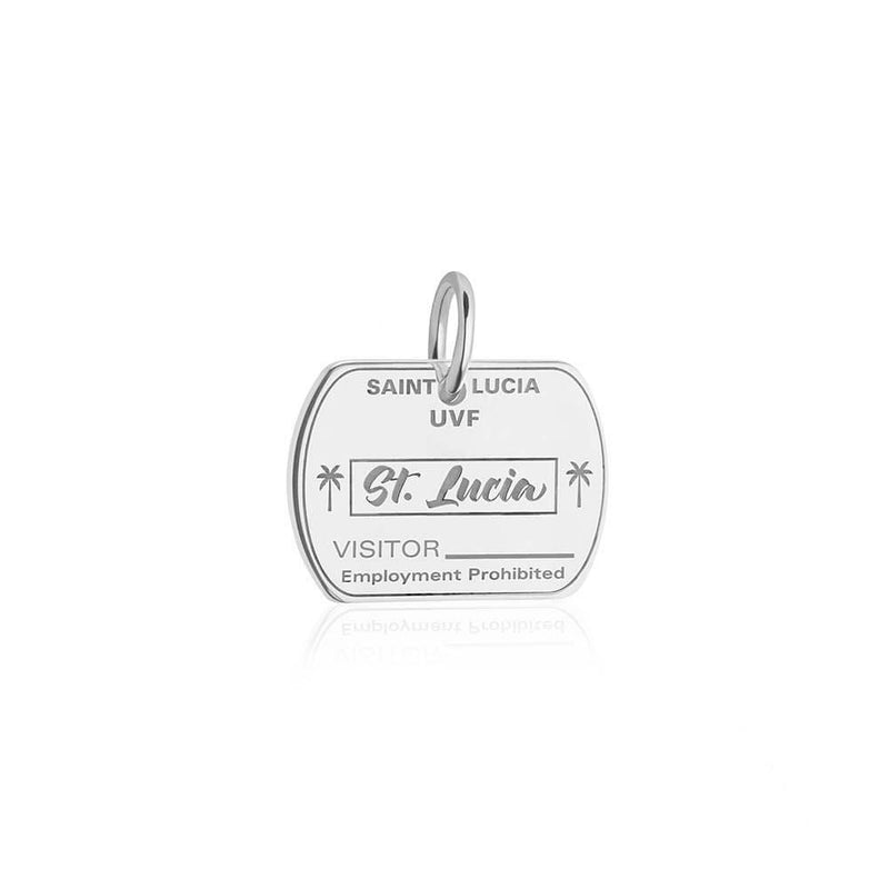 Sterling Silver Travel Charm, Saint Lucia Passport Stamp (SHIPS JUNE) - JET SET CANDY