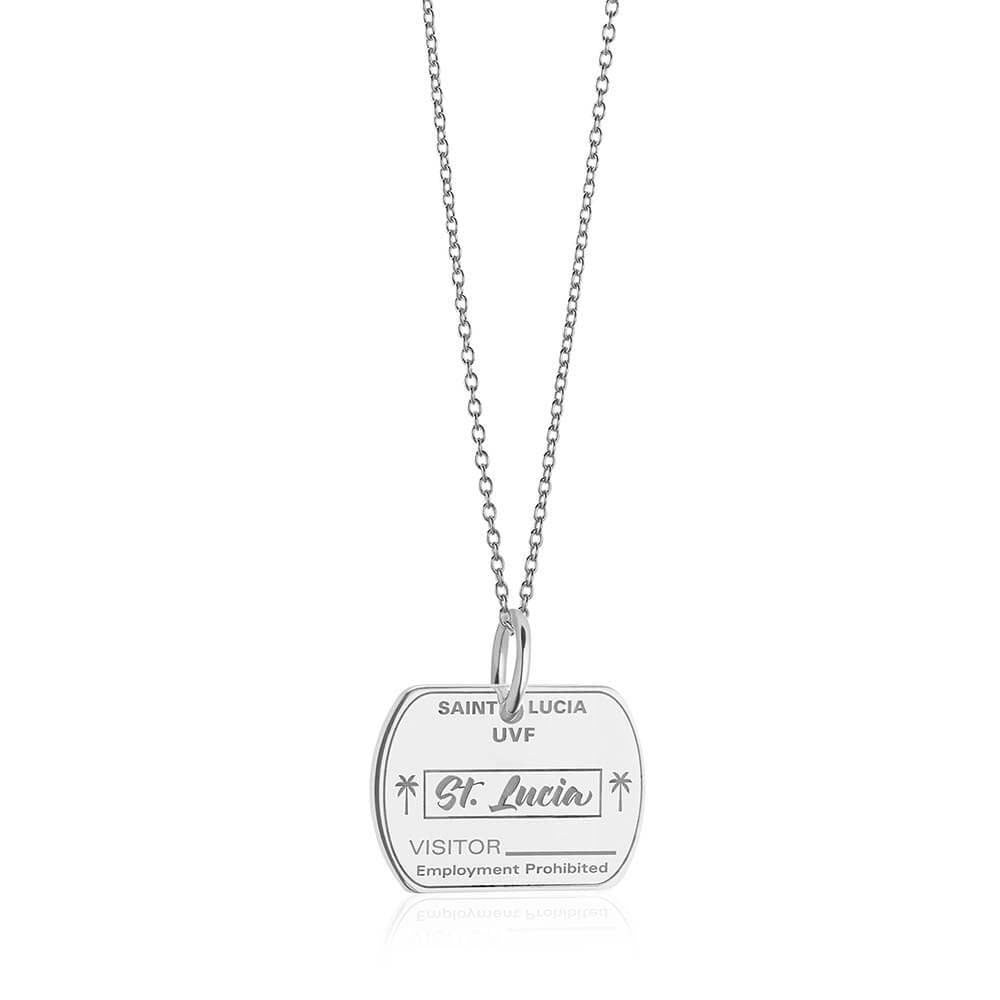 Sterling Silver Travel Charm, Saint Lucia Passport Stamp - JET SET CANDY